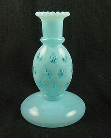 Fenton Coin Dot Candlestick - Blue Opalescent