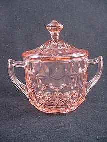 Cube Sugar Bowl & Lid - Pink