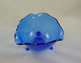 Mt Pleasant Cobalt 3 Footed Bowl