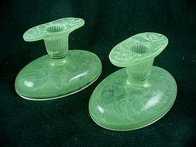 Consolidated Glass Orchid Candlesticks - Green Ceramic