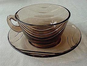Fostoria Horizon Cup & Saucer Set - Cinnamon