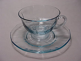 Fostoria Fairfax Footed Cup & Saucer Set - Azure Blue