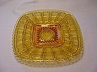 Beaded Block Square Plate - Amber