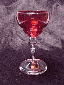 Moondrops Wine Goblet - Ruby with Chrome Stem