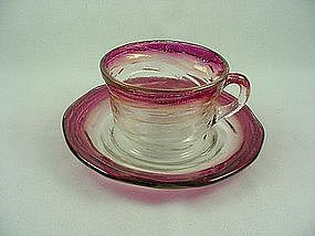 Consolidated Catalonian Ruby Stain Cup & Saucer Set