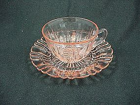 Old Cafe Cup & Saucer Set - Pink