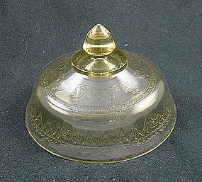 Patrician Spoke Butter Dish Lid - Amber