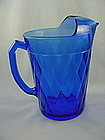 Hazel Atlas Diamond Optic Pitcher - Cobalt