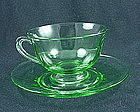 Fostoria Fairfax Cup & Saucer Set - Green