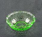 Hex Optic 4 1/2 inch Ruffled Berry Bowl - Green
