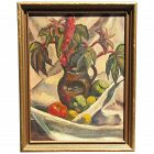 1943 still life impressionist oil painting of flowers and fruits signed artist B.H. Clark