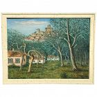Alois Lecoque (1891 - 1981) American Czech listed artist large landscape painting of Renoir Garden circa 1973