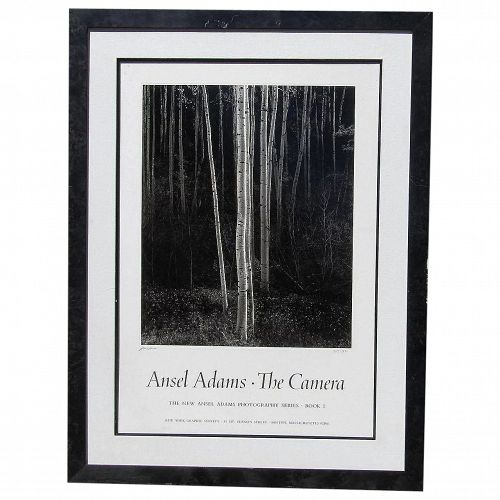 """Ansel Adams (1902 -1984) American photographer original limited edition signed poster """"Aspens Northern New Mexico, The Camera 1958"""""""