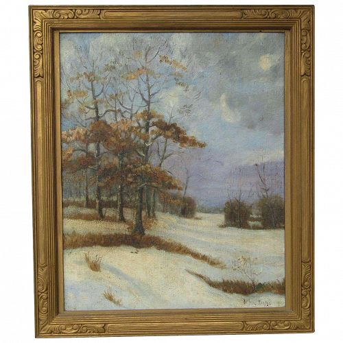 Arthur Diggs (1888 -) American listed artist oil painting of a landscape with trees and snow spring time