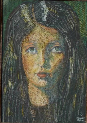 American - California artist Mahlon Blaine (1894-1969) impressionist drawing portrait of a young woman