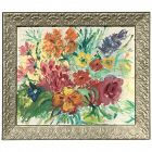 20th Century still life impressionist oil painting of colorful flowers by American artist