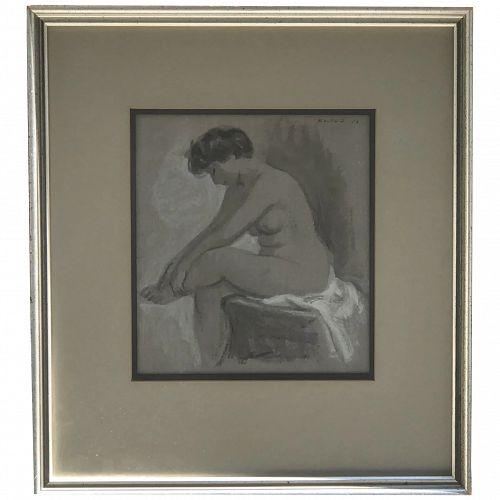 Adolf Ferdinand Konrad (1915- 2003) American listed artist watercolor painting of a seated semi nude woman 1953