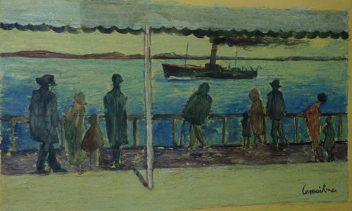 Andre Lemaitre (1909- 1995) French impressionist harbor scene oil painting of figures overlooking the sea