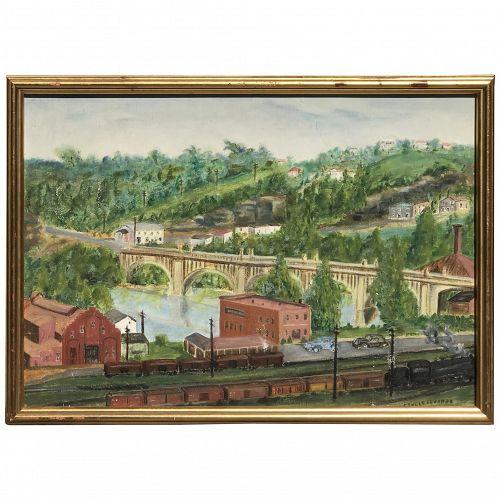 American landscape painting Deco period concrete bridge artist Ethele Edwards circa 1940