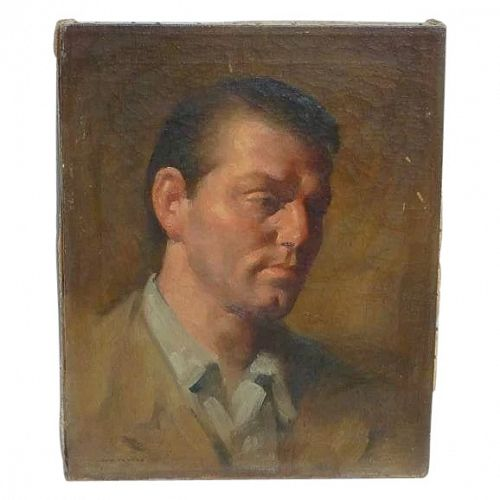 American artist Leon Franks (1914 - 1970) California  art oil painting portrait  of a young man