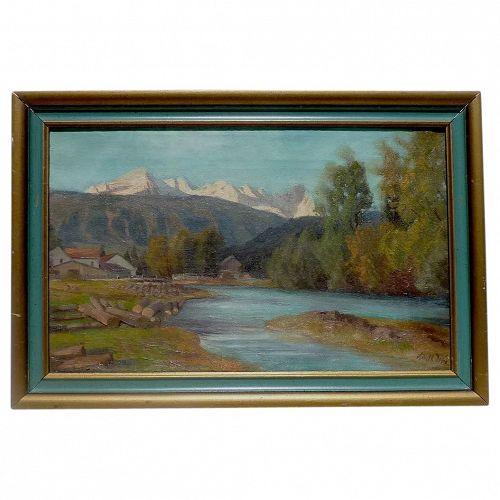 Adalbert Wex (1867 - 1932) German listed artist mountains lake landscape painting