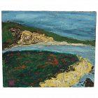 1962 Brittain artist impressionist coastline oil on canvas painting