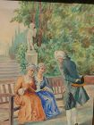 20th Century style Italian art watercolor painting of an 18th Century park scene with figures