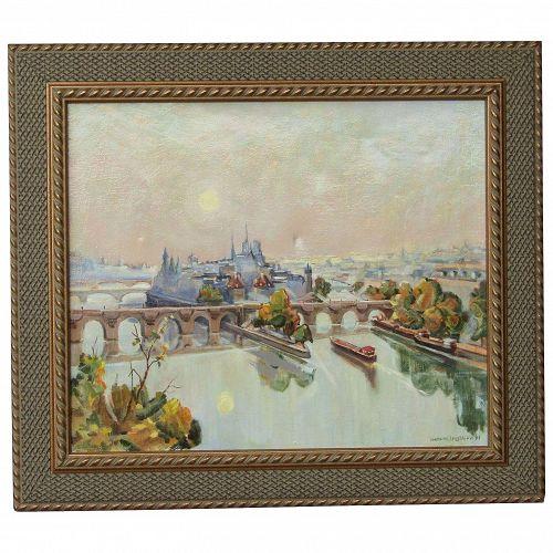 Branislav ZENDELSKI (1936) impressionist oil painting of bridges over the Seine river Paris France 1991