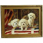 Contemporary original painting of three Shih Tzu dogs or puppies in patriotic interior design
