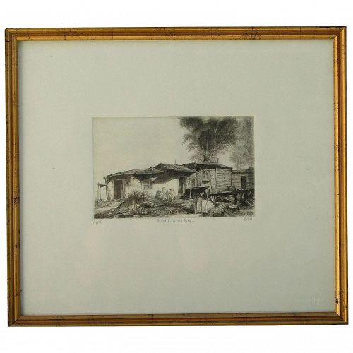 Bror Julius Olsson Nordfeldt (1878 -1955) American New Mexico well listed artist 1968 posthumous impression etching Santa Fe A Place in the Sun