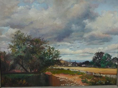 BUTLER 20th Century American artist beautiful landscape oil painting signed