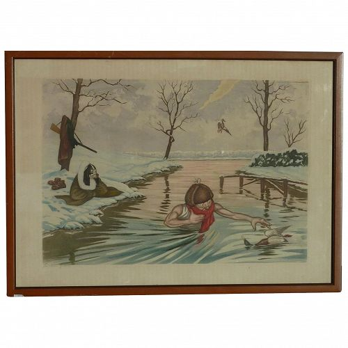 Boris O' Klein / Jean Herblet (1893 -1985) French artist humorous sporting pencil signed print of man retrieving duck as dog remains on shore