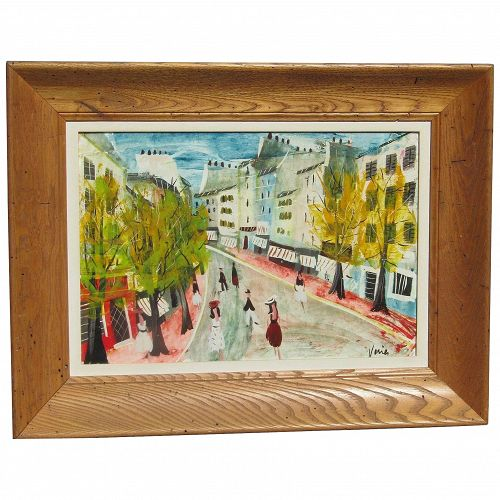 CHARLES LEVIER (1920-2003) French listed artist  impressionist mid 1950's colorful Paris street scene oil painting