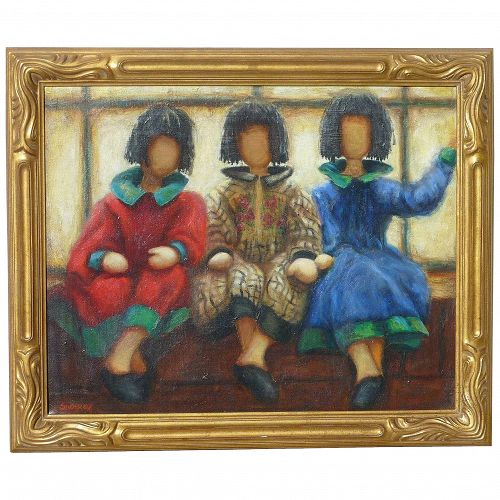 Contemporary colorful impressionist painting of three women sitting on a bench signed SHORKEY
