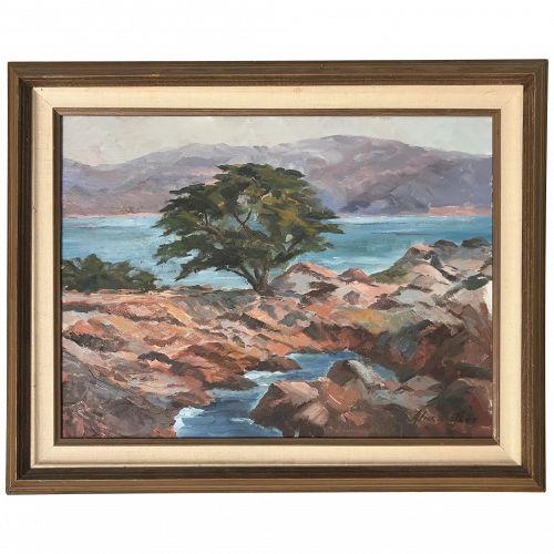 """California art impressionist plein air landscape painting Monterey """"Cypress Point"""" Lone Cypress artist Alice Walker"""