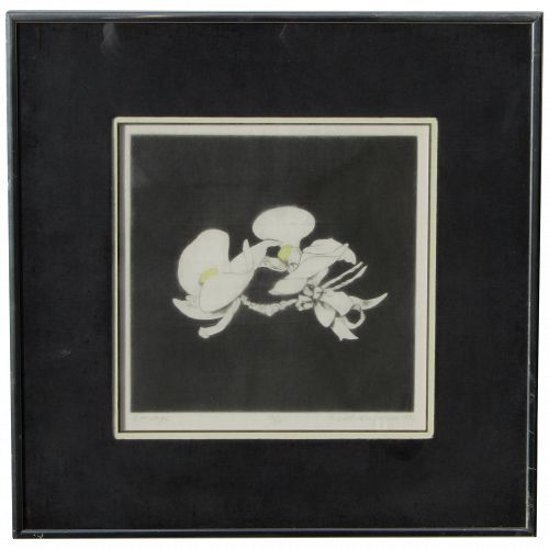 Beth Van Hoesen (1926 -2010) American artist pencil signed etching of corsage with orchid 1976
