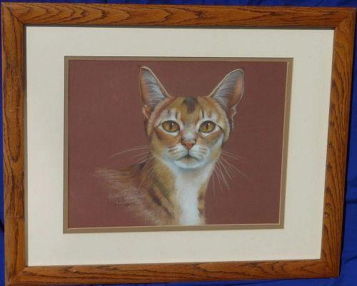 Cat art original pastel drawing of a Bengal cat by California artist Rita Joyce