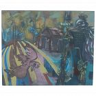 Cuban artist Hans Christian Vergara acrylic on canvas whimsical contemporary abstract painting street scene with birds 2004