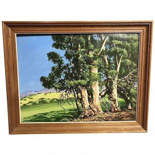 California art impressionist plein air eucalyptus landscape  painting by  artist George Allison Foxen Canyon blue sky