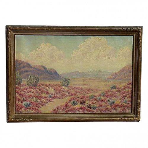 Charles Wesley Nicholson (1886 - 1965) California plein air desert landscape oil painting listed artist