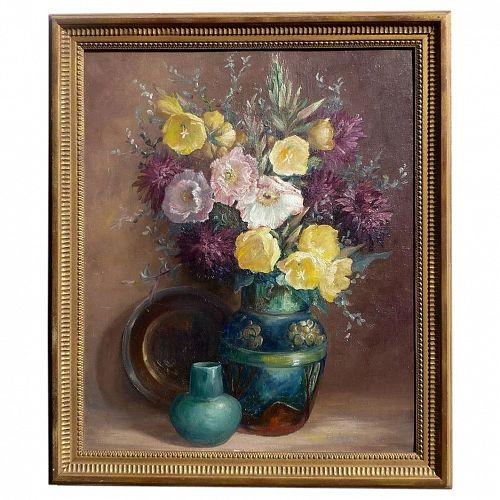 Edith Ward Hunt (1868- 1957) impressionist California art floral still life oil painting