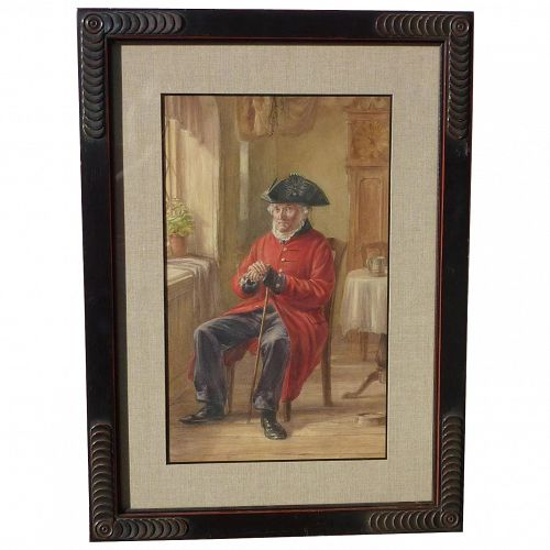 Charles Philip Slocombe (1832 -1895) British listed artist watercolor painting of an old soldier circa 1870