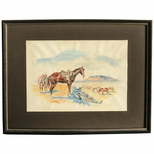 Berger Fagenstrom (1914-2003) American Montana artist Western watercolor painting with horses and resting cowboys
