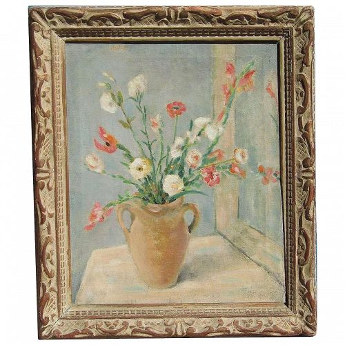 DAVIS American artist still life wild flowers in a vase on a table top oil painting