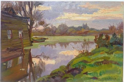 Dutch art  Abraham Frederik Hubeek (1884-1952) oil on canvas landscape  painting