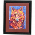 Dog art Contemporary  American artist Deni Porter colorful watercolor painting dog