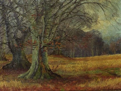 Danish art mid century forest landscape painting by listed artist Erik Ytting (1921-)