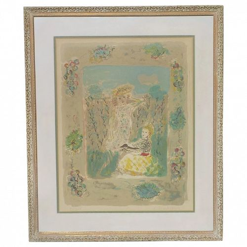 Constantin Terechkovitch (1902 -1978) pencil signed lithograph two young girls ducksun light green colors dominant