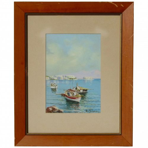 E. Gianni Mediterranean Italy Naples seascape landscape with boats and mountain view impressionist gouache painting memories from vacation