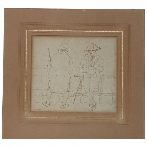 Early 19th century art European ink drawing of two men